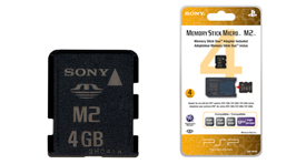 4GB Memory Stick Micro M2 (includes M2 Duo adaptor)